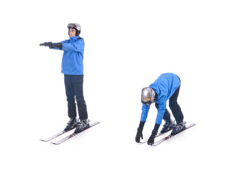 warm up exercise: Skiier demonstrate warm up exercise for skiing. Bend forward.