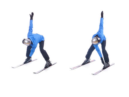 warm up exercise: Skiier demonstrate warm up exercise for skiing. Windmill.