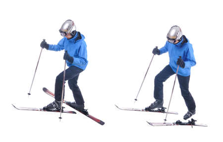 uphill: Skiier demonstrate how to put on skis uphill.