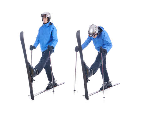 warm up: Skiier demonstrate warm up exercise for skiing. Pull up skis, bend forward and stretch.