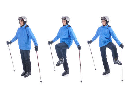 warm up exercise: Skiier demonstrate warm up exercise for skiing. Dinamic stretch with sticks.
