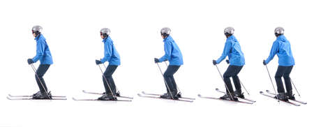 demonstrate: Skiier demonstrate how to turn around the tails of skis. Step by step instruction.