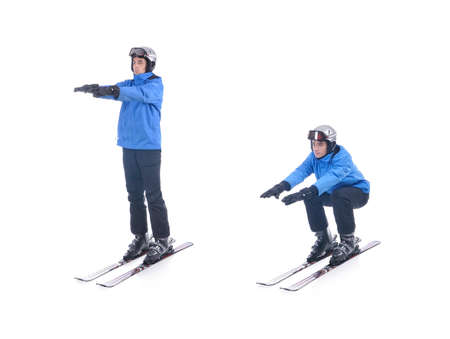 warm up exercise: Skiier demonstrate warm up exercise for skiing. Squats on skis. Stock Photo