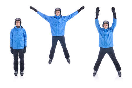 jacks: Skiier demonstrate warm up exercise for skiing. The Jumping Jacks.
