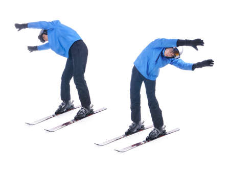 warm up: Skiier demonstrate warm up exercise for skiing. Bend sideways. Stock Photo