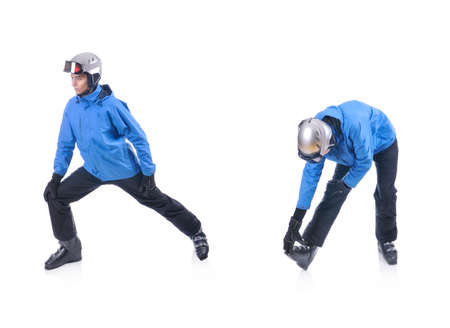 warm up: Skiier demonstrate warm up exercise for skiing. Dinamic stretch. Stock Photo