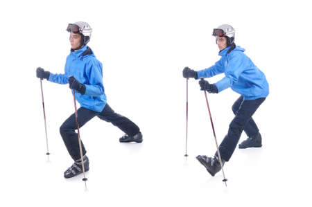 warm up: Skiier demonstrate warm up exercise for skiing. Dinamic stretch with sticks.