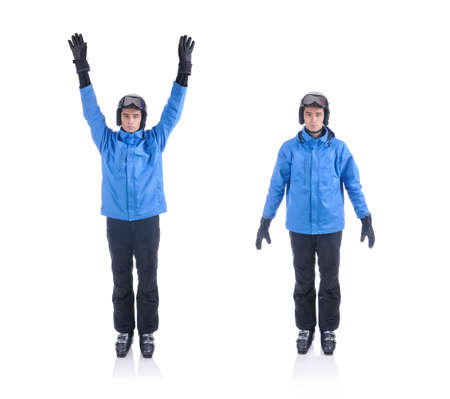 warm up exercise: Skiier demonstrate warm up exercise for skiing. Arm circle.