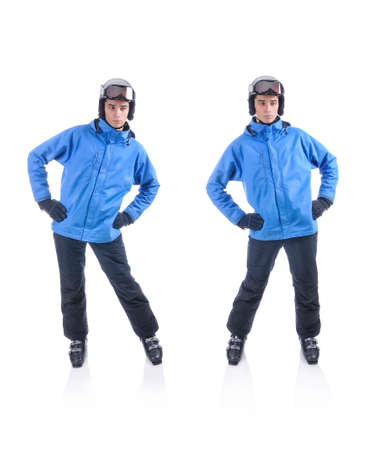 warm up: Skiier demonstrate warm up exercise for skiing. Hips to the side.