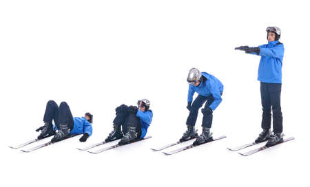 warm up: Skiier demonstrate warm up exercise for skiing. Stand up on skis. Stock Photo