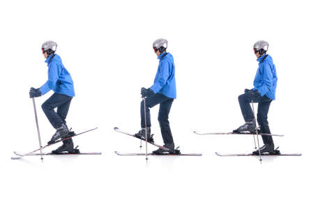 warm up: Skiier demonstrate how to warm up in skiing. Balance exercise.