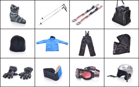 equipment: Ski equipment. Necessary things for skiing.