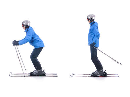 Skiier demonstrate how to push away in skiing. Sliding at the flat surface. Banque d'images