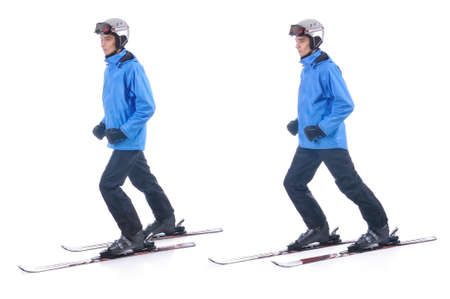 warm up exercise: Skiier demonstrate warm up exercise for skiing. Sliding without sticks.