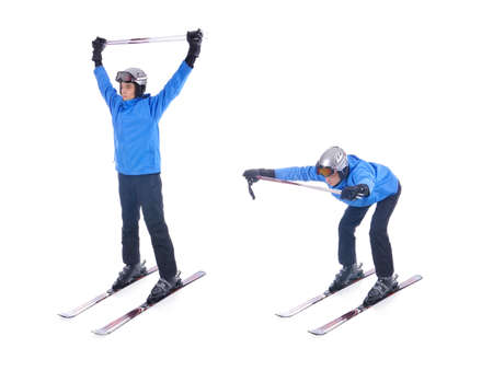 warm up exercise: Skiier demonstrate warm up exercise for skiing. Bend forward with sticks.
