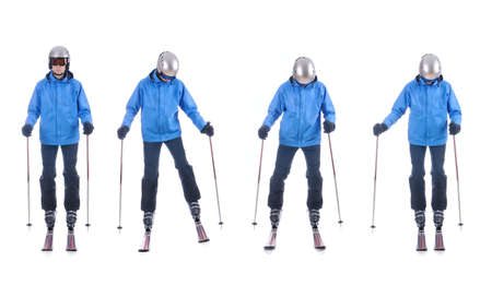 demonstrate: Skiier demonstrate how to move sideways. Step by step instruction. Stock Photo