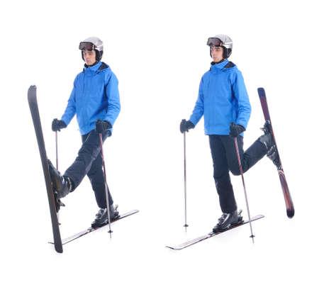 warm up exercise: Skiier demonstrate warm up exercise for skiing. Pull up skis forward-backward. Stock Photo