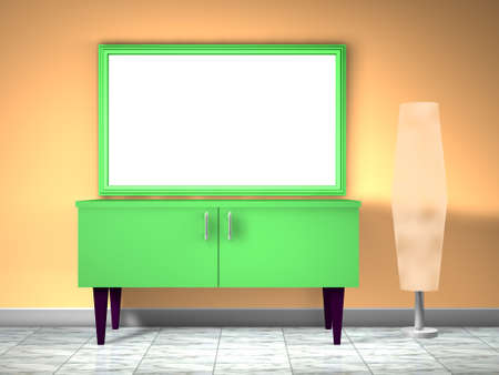 3d green furnitute with lamp Stock Photo