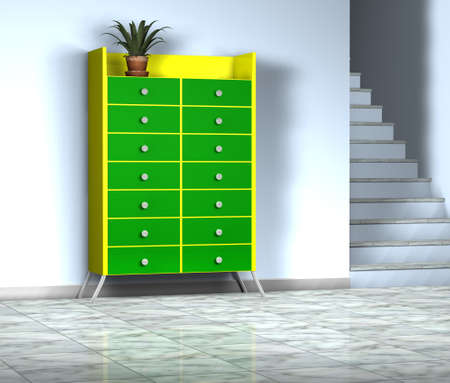 3d green furnitute with plant