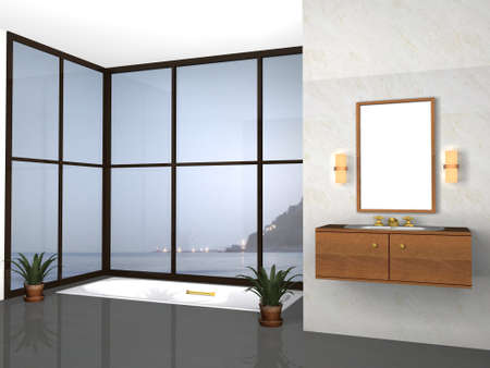 3d modern bathroom with sea background photo