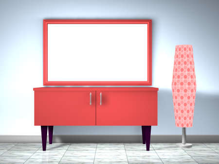 3d red furnitute with lamp Stock Photo