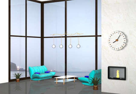 3d modern indoor living room with background