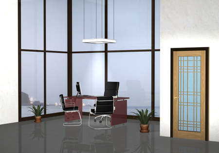 3d rendering Modern office with sea background