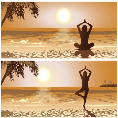 yoga meditation: yoga meditazione segnalibri, segnalibro, bandiera Vettoriali