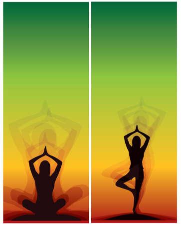 alargamiento: marcadores meditaci�n del yoga, marcador, banners Vectores