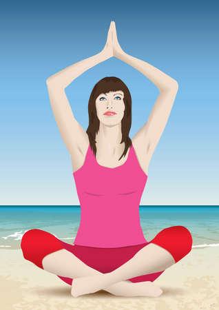 elongacion: yoga meditaci�n Vectores