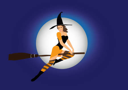 sexy witch flying on broom Vector