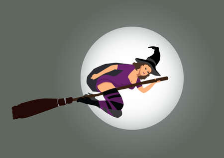 sexy witch flying on broom