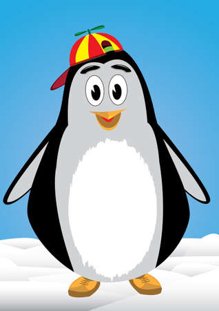 Penguin child with bonnet above the snow Stock Vector - 18274605