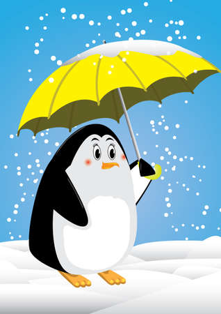 Penguin and umbrella snowing in antartica