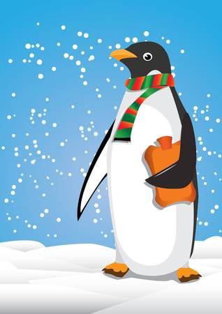 Penguin and snow Stock Vector - 18274614