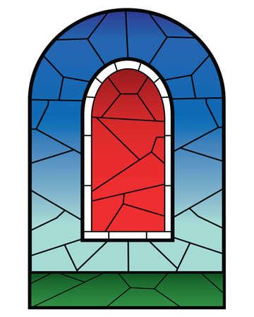宗教的なステンド グラスの窓