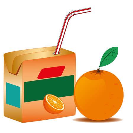 orange juice in paper box