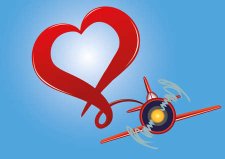 Heart airplane in the sky