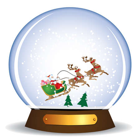 santa claus and sledge in the glass globe Vector