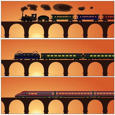 Banner trein geschiedenis brug Stockfoto - 18295614
