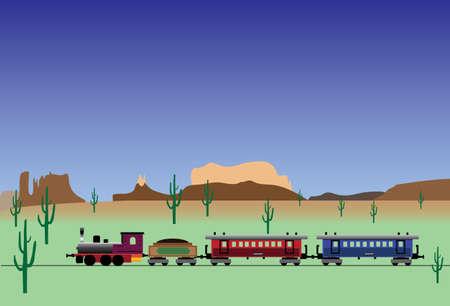 oude westelijke trein Stock Illustratie