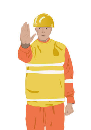 alt: worker say alt stop with hand