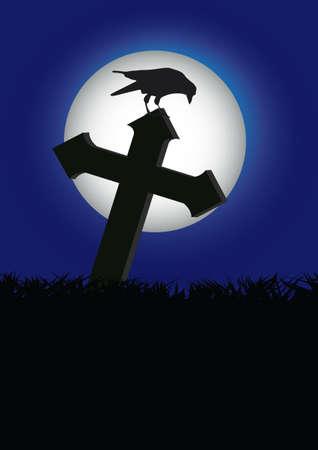 demise: crow on the rood halloween Illustration