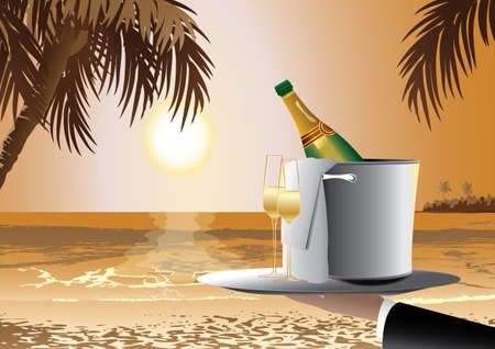anniversary beach: champagne in tropical island