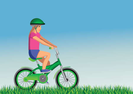 ecologist: ecologist girl on bike Illustration