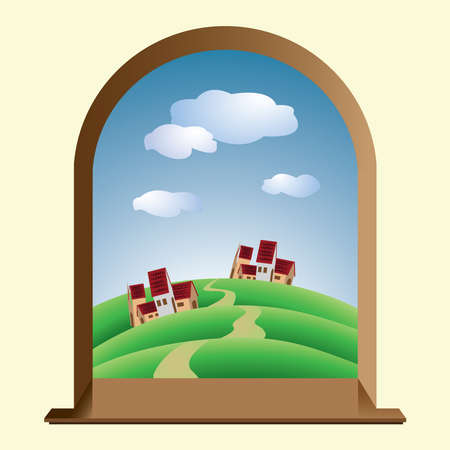 window with hills, villages, and clouds