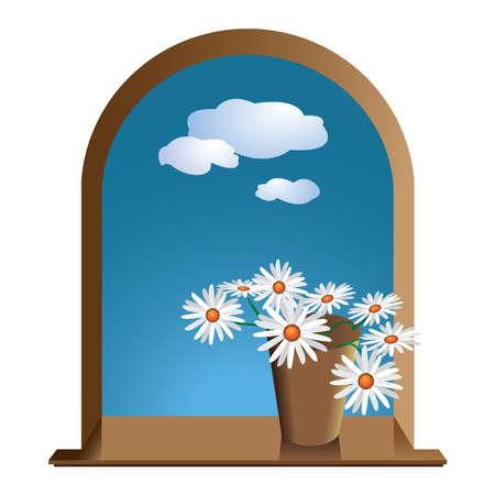 daisie: finestra con fiori margherite e cielo con le nuvole Vettoriali