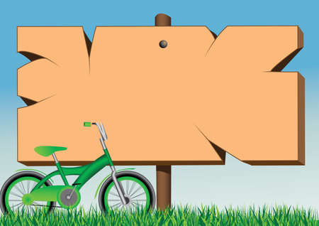 poster board and green bike Illustration