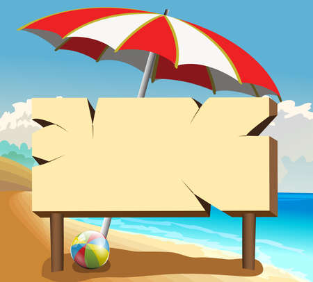 poster board on the beach with ball and umbrella