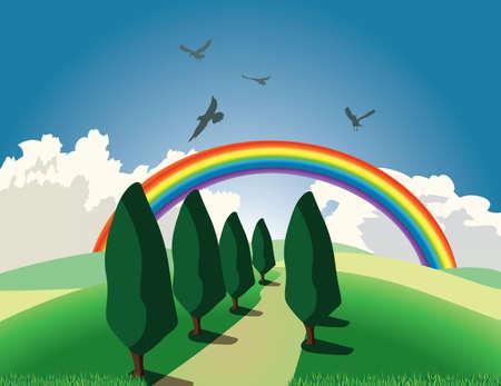 zypresse: H�gel mit B�umen und Regenbogen
